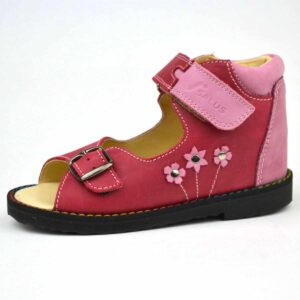 Flo-106 Salus szandál rózsaszínű kis virágokkal
