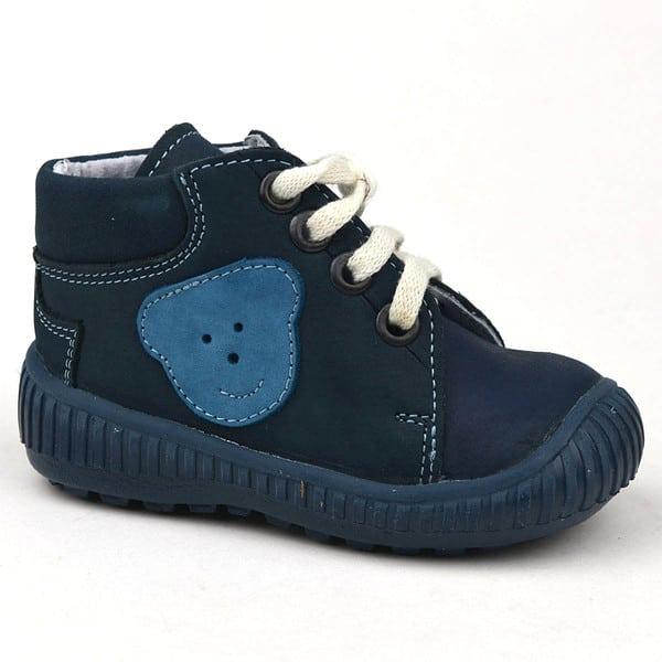 Maus fűzős elsőlépés-cipő kék színű, macival az oldalán